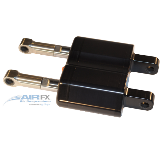 Picture of AirFX Rear Air Ride single housing Softail shock with black hardcoat anodized finish, pivots both ends1985-99 Harley Softail models and most chopper frames